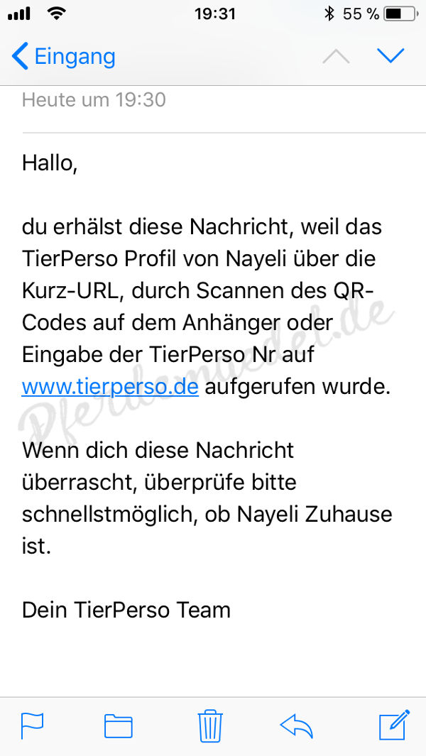 Reitunfall - eMail